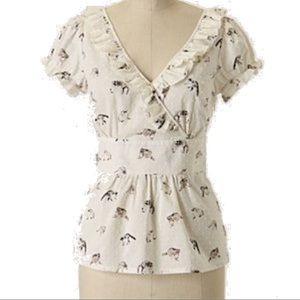 Anthropologie raccoon faux-wrap blouse size 8